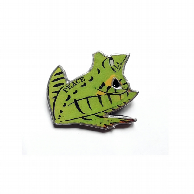 Lyrical 'Peace Frog' Doors inspired Resin Green Frog Brooch by EllyMental