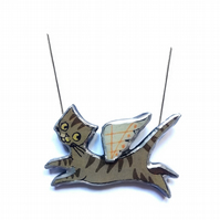 Large Whimsical Flying Angel Tabby Cat Resin Necklace pendant by EllyMental
