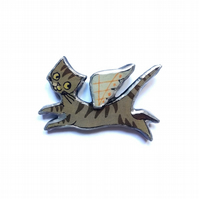 Wonderfully Whimsical Flying Angel Tabby Cat Resin Brooch by EllyMental