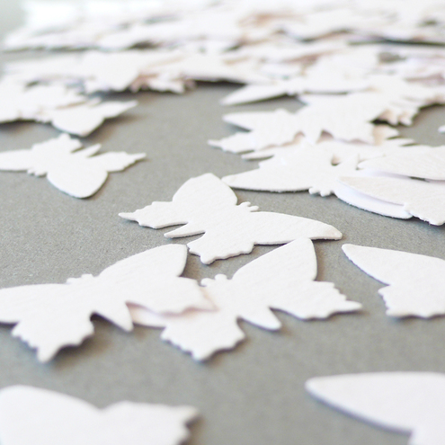 Butterfly paper confetti - white