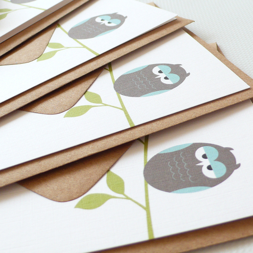Sleepy owl notecards - set of four