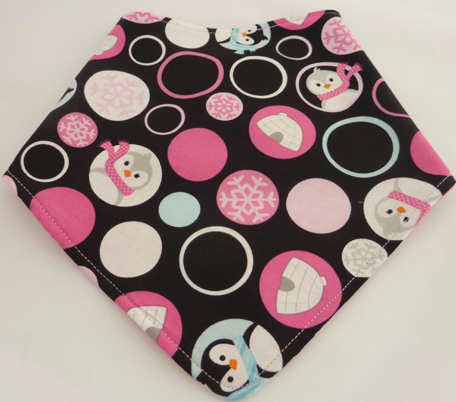 Christmas Bandana Dribble Bib - Penguins