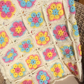 Indian Flower crotchet baby blanket