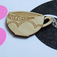 Wooden Teacup Necklace