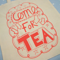Come For Tea Tote Red