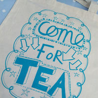Come For Tea Tote Turquoise