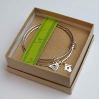 Double Silver Bangle with Charms