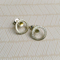 Silver Circle and Disc Earrings
