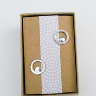 Silver Circle and Disc Earrings - dot print
