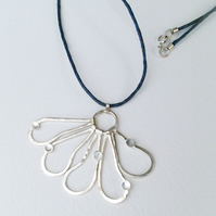 Silver Flower Petal Pendant - with seeds
