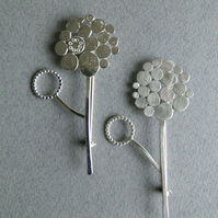 Silver Allium Brooch with hoop - medium