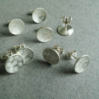 Large Silver studs - multi dot print