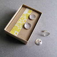 Large Silver studs - Sunflower print