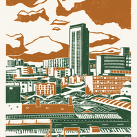 Sheffield City View poster-print (orange-green)