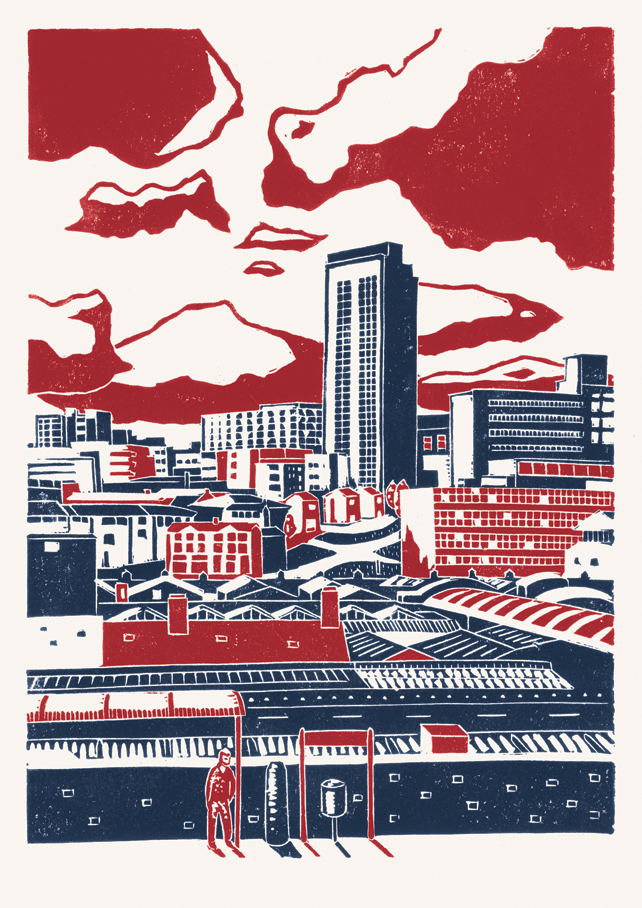 Sheffield City View poster-print (red-blue)