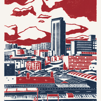 Sheffield City View A3 poster-print (red-blue)