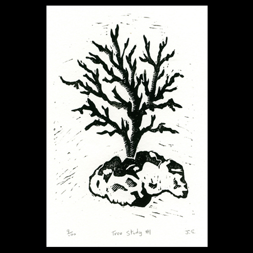 30% off - Tree Study No.1 linocut print