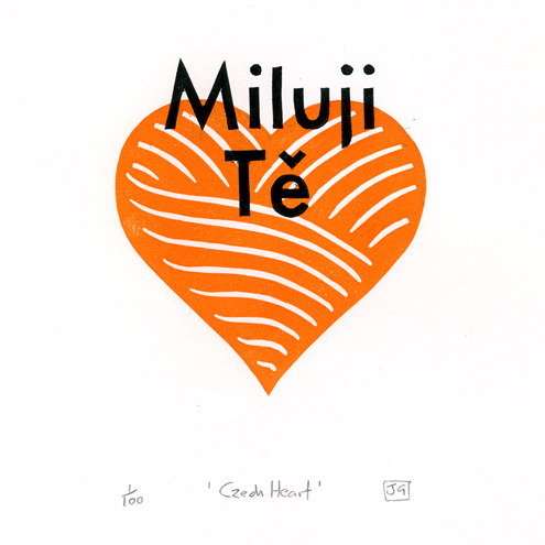Czech Heart linocut valentines print (orange)