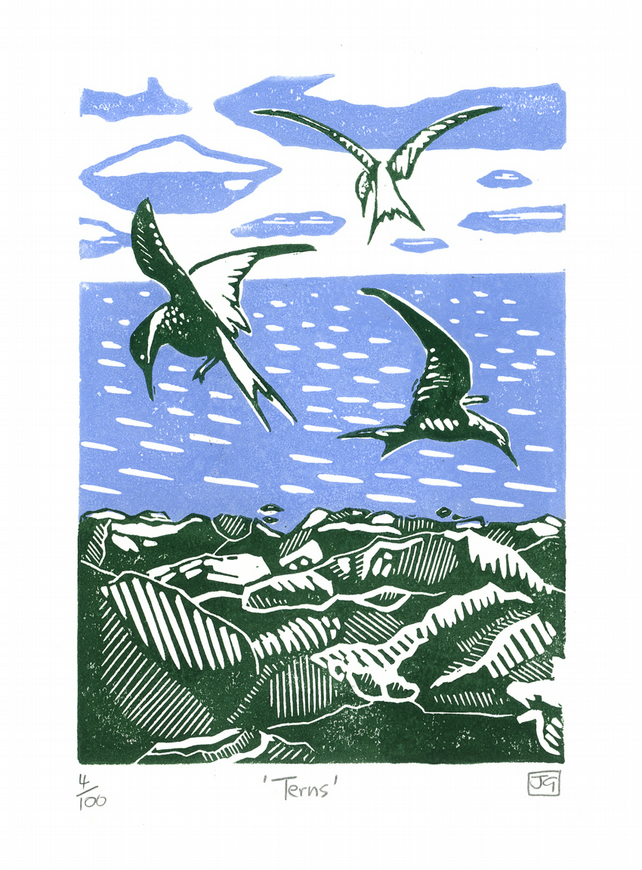 Terns Linocut Print - James Green Printworks