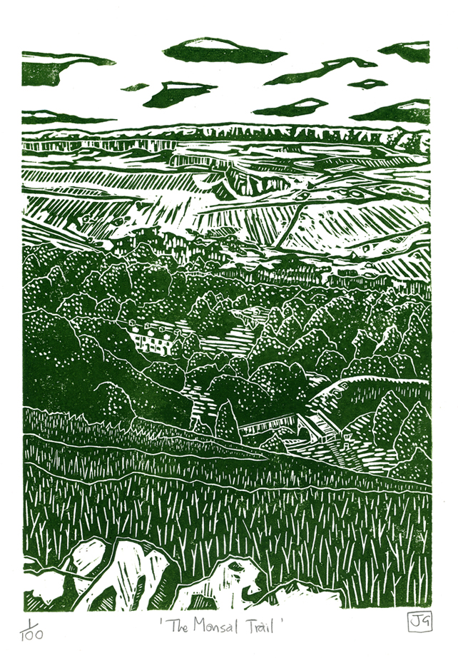 The Monsal Trail linocut print