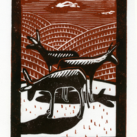 Three donkeys (an uncomfortable silence no.2) 2-colour linocut print