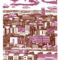Sheffield City View No.2 A3 poster-print (pink-brown) & (grey-blue)