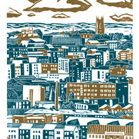 Sheffield City View No.2 A3 poster-print (blue-green)