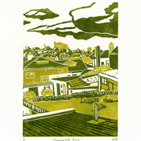 Sharrow Vale View linocut print