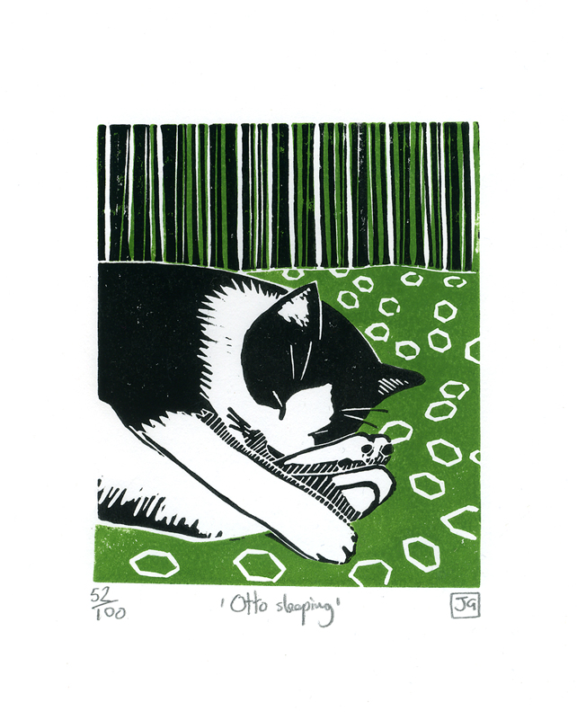 Otto Sleeping 2-colour linocut print