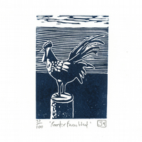 Rooster Faces West linocut print