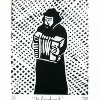 The Accordionist linocut print