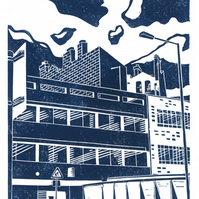 Sheffield City View No.3 linocut print
