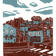 Holmfirth View two-colour linocut print