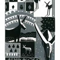 Donkey Collage No.1  two-colour linocut print