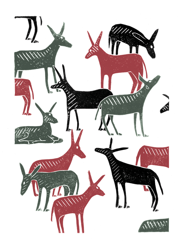 Wandering Donkeys poster-print (grey & red & black)