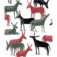 Wandering Donkeys A3 poster-print (grey & red & black)