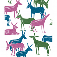 Wandering Donkeys A3 poster-print (green & pink & blue)