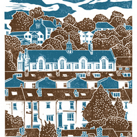 Carfield View A3 poster-print (blue-brown)