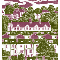 Carfield View A3 poster-print (green-dark pink)