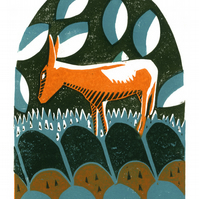 Orange Donkey Dream three-colour linocut print