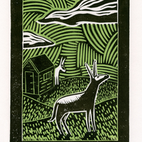 Donkey Hide And Seek two-colour linocut print