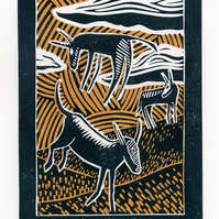 Watching The Wild Donkeys two-colour linocut print