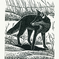 Fox In The Snow linocut print