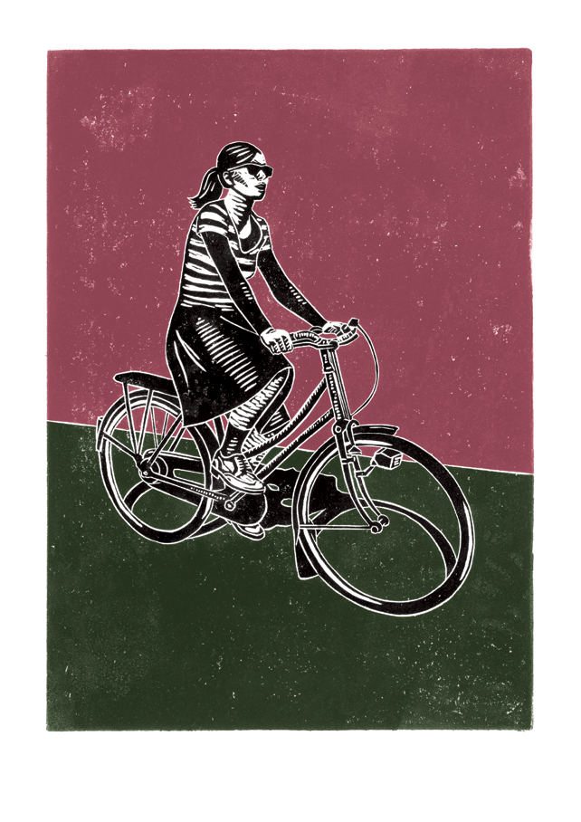 Cyclist No.2 poster-print (dark pink and green-grey)