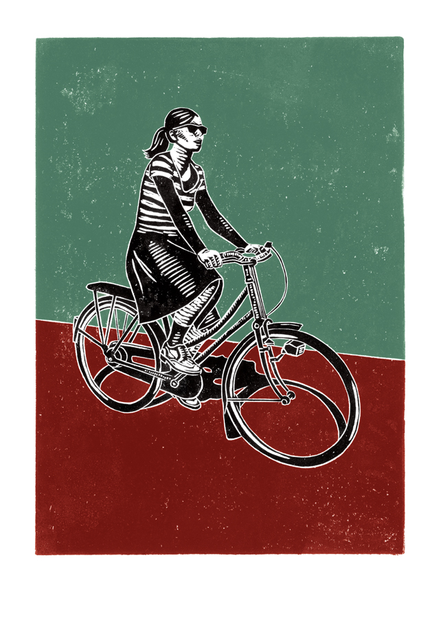 Cyclist No.2 poster-print (duck-egg blue & maroon)