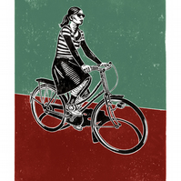Cyclist No.2 A3 poster-print (duck-egg blue & maroon)
