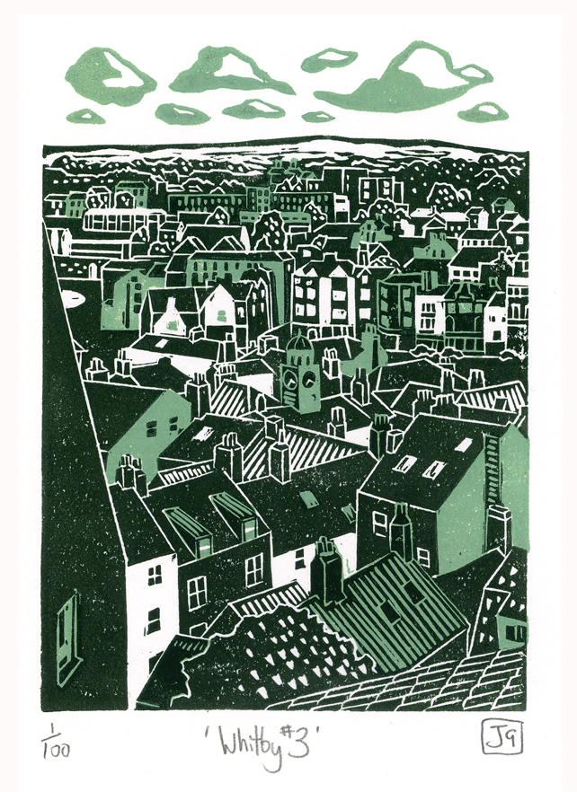 Whitby No.3 two-colour linocut print