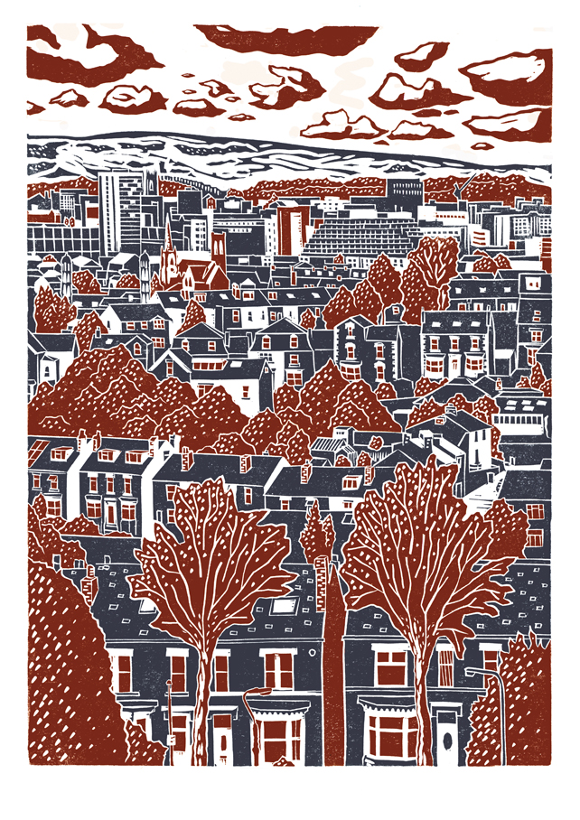 Sheffield City View No.4 A3 poster print (dark red & dark blue)