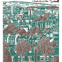Sheffield City View No.4 A3 poster print (blue-green & grey)