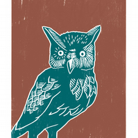 Long-eared Owl A3 poster-print (teal-orange)